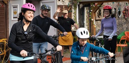 Get your bikes and depart Dick's Bike Hire
